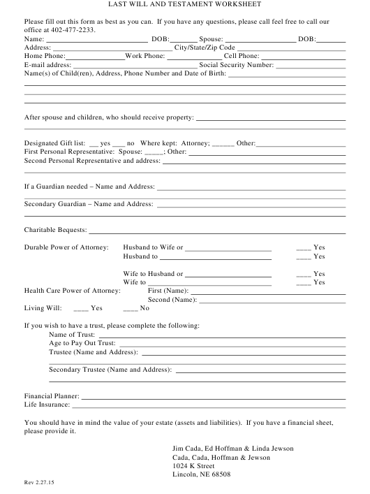 """Last Will and Testament Worksheet Template"" Download Pdf"