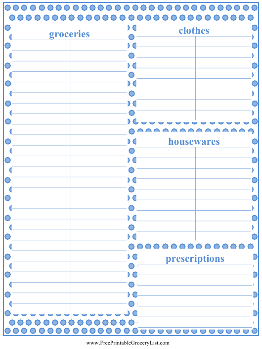 """""""Shopping List Template"""" Download Pdf"""