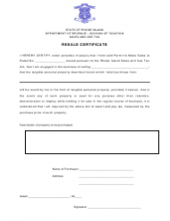 Resale Certificate - Rhode Island