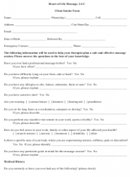 Client Intake Form - Heart of Life Massage, Llc