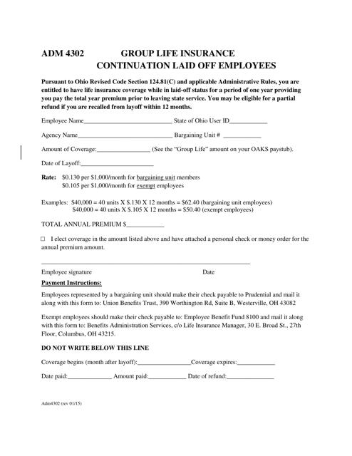 Form ADM4302  Printable Pdf