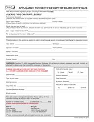 "Form HHS-92 (55092) ""Application for Certified Copy of Death Certificate"" - Nebraska"