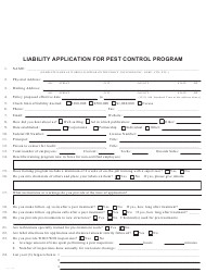 Liability Application Form for Pest Control Program