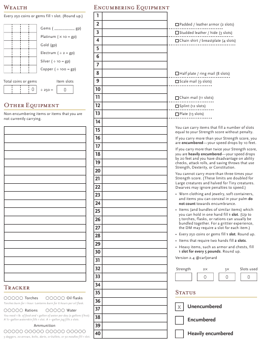 5e Inventory Tracking Sheet Download Fillable PDF