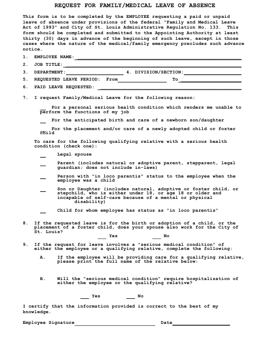 """""""Request for Family/Medical Leave of Absence"""" - City of St. Louis, Missouri Download Pdf"""
