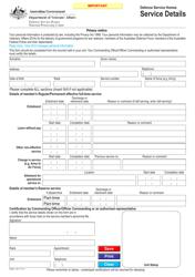 "Form D7608 ""Defence Service Homes Service Details"" - Australia"