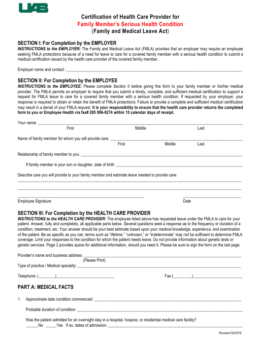 """""""Certification of Health Care Provider Form for Family Member's Serious Health Condition (Fmla) - University of Alabama, Birmingham"""" Download Pdf"""