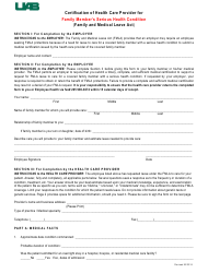 Certification of Health Care Provider Form for Family Member's Serious Health Condition (Fmla) - University of Alabama, Birmingham