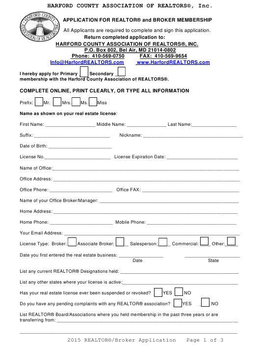 """Application Form for Realtor and Broker Membership - Harford County Association of Realtors, Inc"" - Harford County, Maryland Download Pdf"