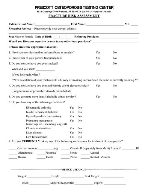 """Fracture Risk Assessment Form - Prescott Osteoporosis Testing Center"" Download Pdf"