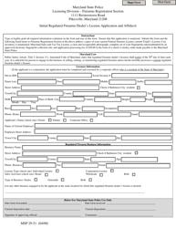 "Form MSP29-51 ""Initial Regulated Firearms Dealer's License Application and Affidavit"" - Maryland"