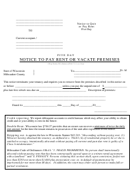 Five Day Notice to Pay Rent or Vacate Premises Form - Milwaukee County, Wisconsin