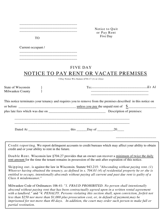 five day notice to pay rent or vacate premises form download