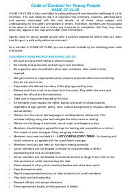 """""""Code of Conduct for Young People Template - Sample"""""""