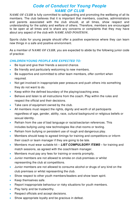 """""""Code of Conduct for Young People Template - Sample"""" Download Pdf"""