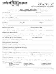 """Animal Adoption Application Form - Perfect Pet Rescue"" - Los Angeles, California"
