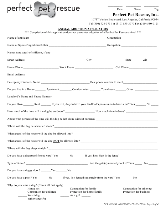 """Animal Adoption Application Form - Perfect Pet Rescue"" - Los Angeles, California Download Pdf"