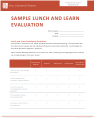 """Lunch and Learn Evaluation Form - Hill, Chesson & Woody"""