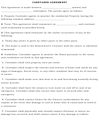 Property Caretaker Agreement Form