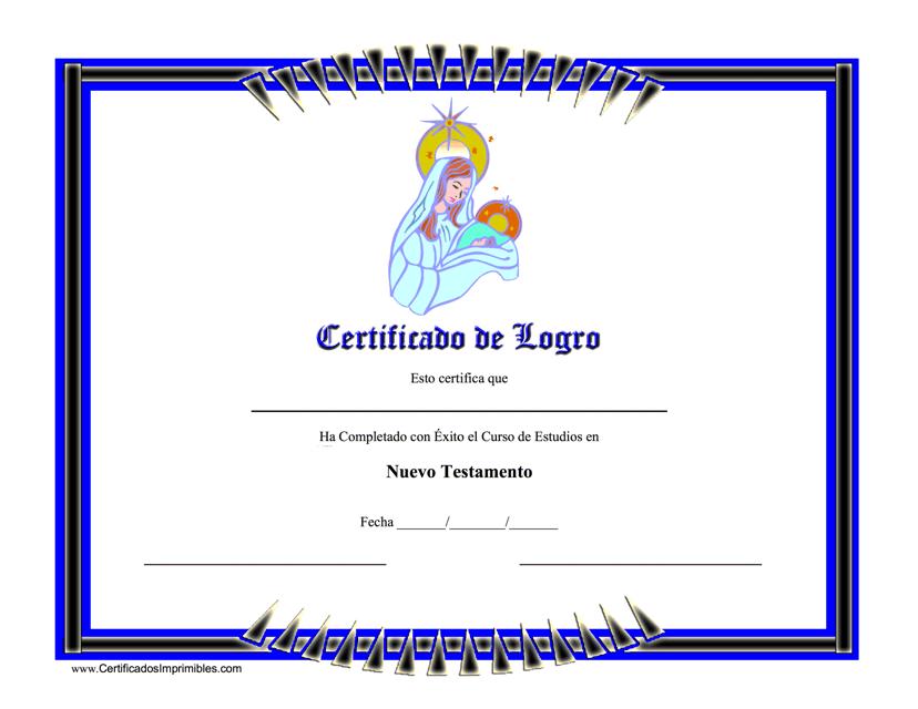 """Certificato De Logro De Nuevo Testamento"" (Spanish) Download Pdf"
