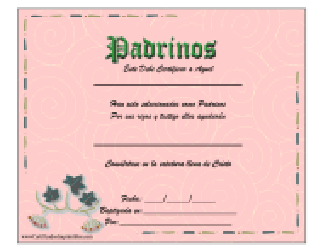 """Certificado De Padrinos"" (Spanish)"