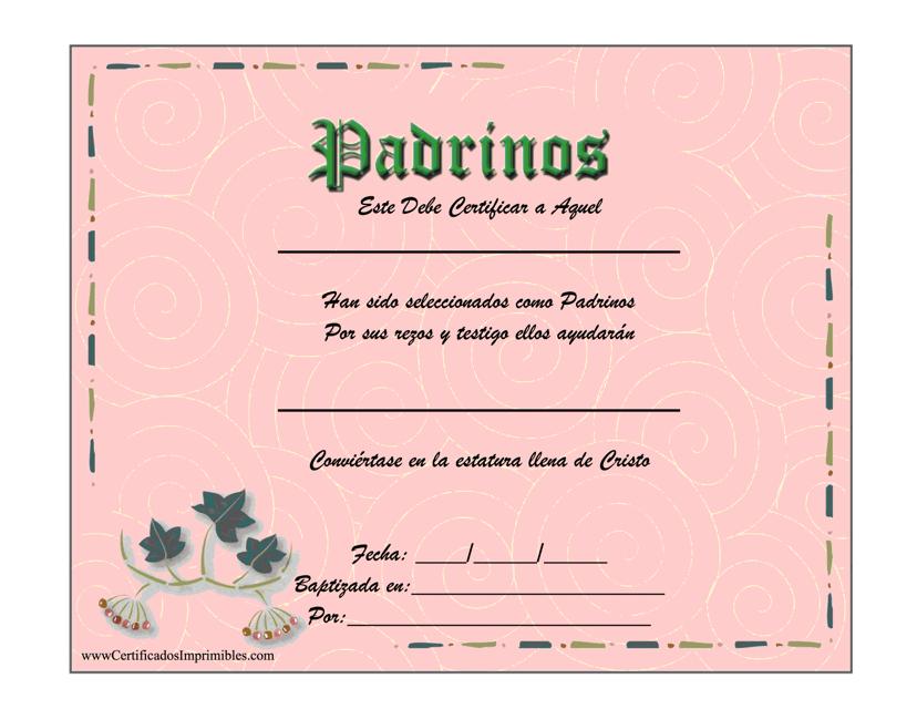 """Certificado De Padrinos"" (Spanish) Download Pdf"