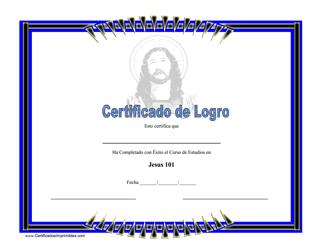 Certificado De Logro - Jesus