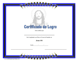 """Certificado De Logro - Jesus"" (Spanish)"