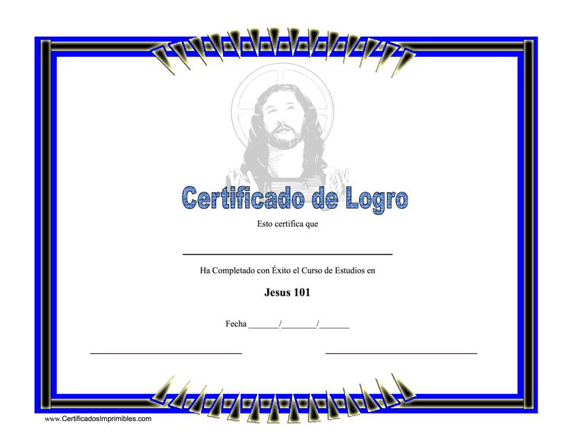 """Certificado De Logro - Jesus"" (Spanish) Download Pdf"
