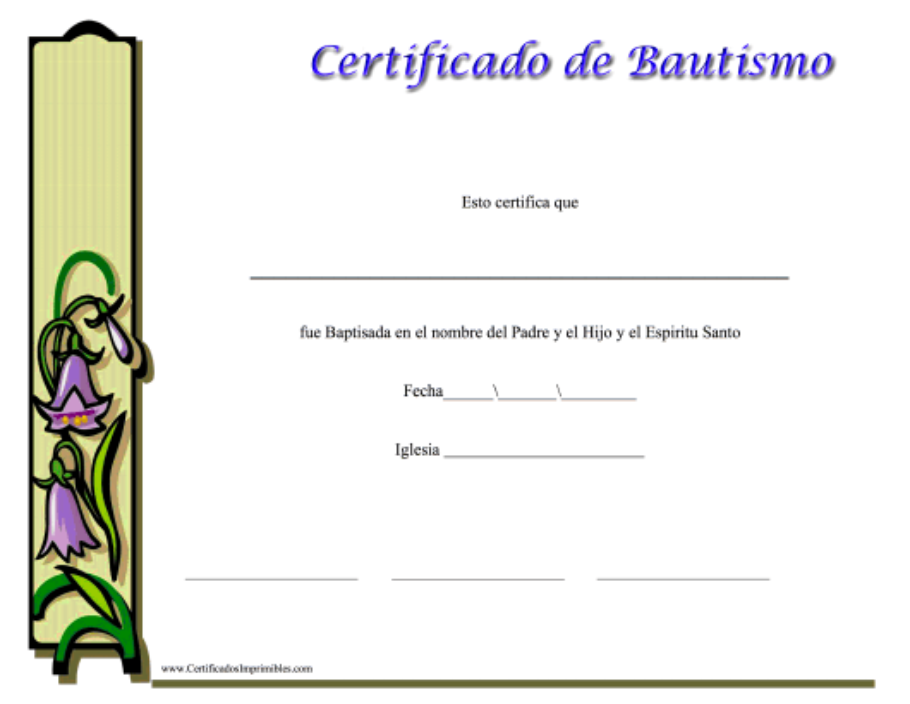 """""""Certificado De Bautismo Para Ella"""" (Spanish) Download Pdf"""