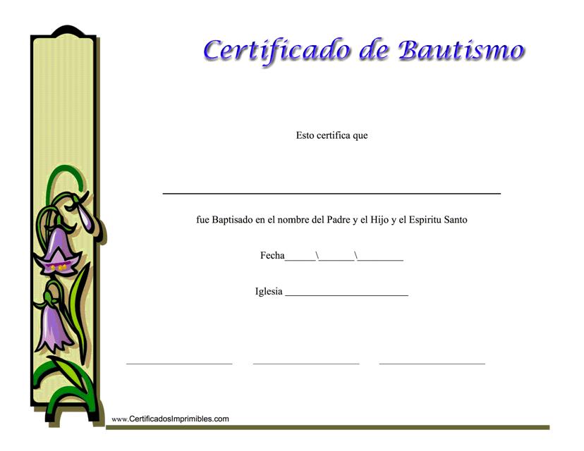 """""""Certificado De Bautismo"""" (Spanish) Download Pdf"""