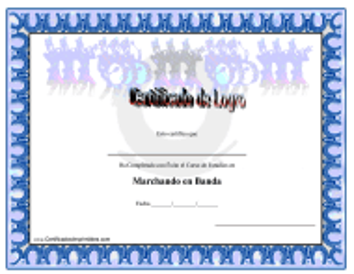 """""""Certificado De Logro En Marchando Con Banda"""" (Spanish)"""