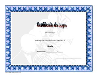 """""""Certificado De Logro En Banda"""" (Spanish)"""