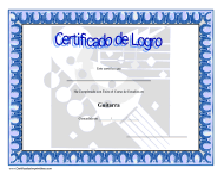 """""""Certificado De Logro Estudios En Guitarra"""" (Spanish)"""
