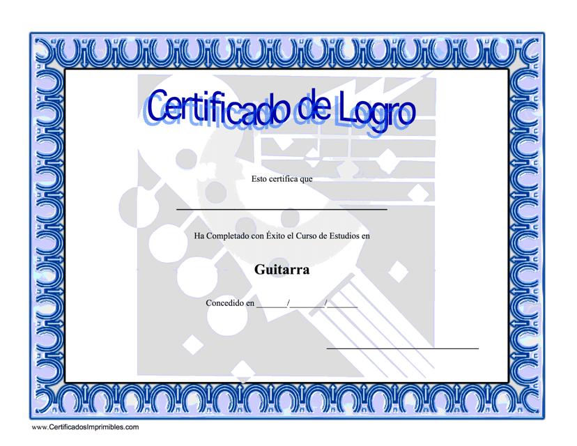 """""""Certificado De Logro Estudios En Guitarra"""" (Spanish) Download Pdf"""