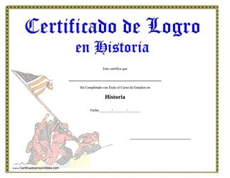 """""""Certificado De Logro En Historia"""" (Spanish)"""