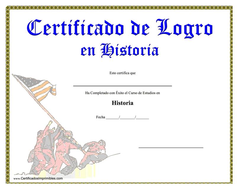 """""""Certificado De Logro En Historia"""" (Spanish) Download Pdf"""