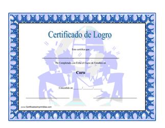 """Certificado De Logro En Coro"" (Spanish)"