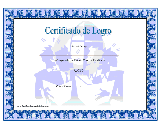 """Certificado De Logro En Coro"" (Spanish) Download Pdf"