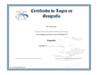"""""""Certificado De Logro En Geografia"""" (Spanish)"""