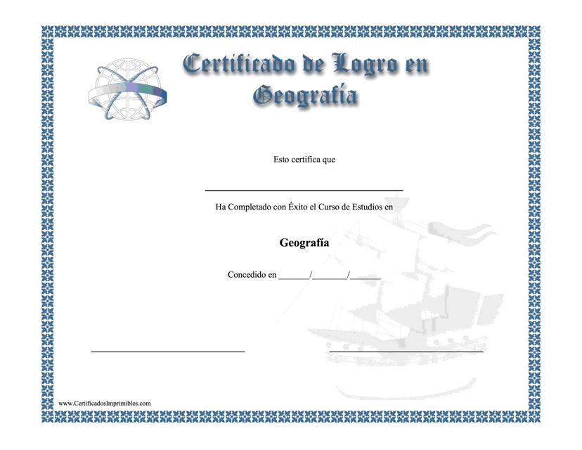 """""""Certificado De Logro En Geografia"""" (Spanish) Download Pdf"""