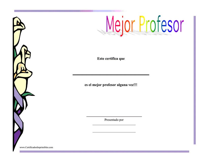 """Certificado De Logro - Mejor Profesor"" (Spanish) Download Pdf"
