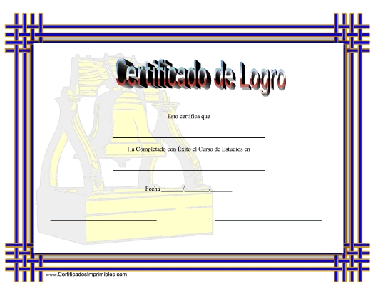 """Certificado De Logro En Historia"" (Spanish) Download Pdf"