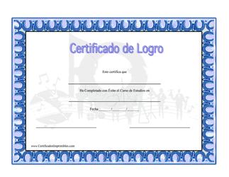 """""""Certificado De Logro En Musica"""" (Spanish)"""