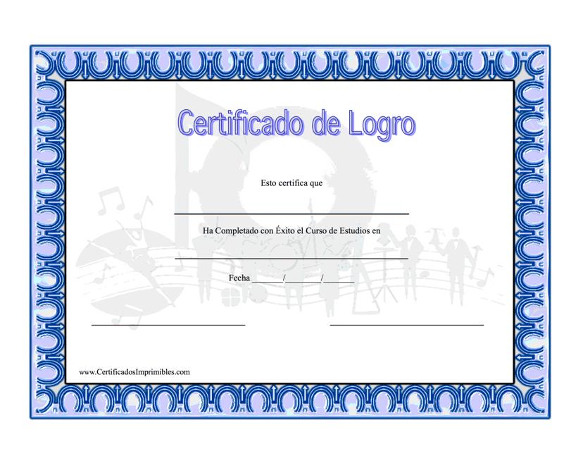 """""""Certificado De Logro En Musica"""" (Spanish) Download Pdf"""