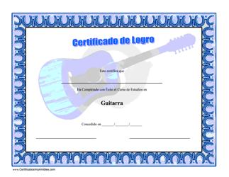 Certificado De Logro En Guitarra