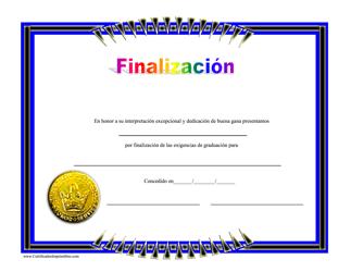 """""""Certificado De Finalizacion"""" (Spanish)"""