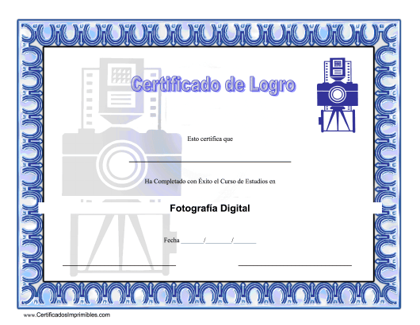 """Certificado De Logro - Fotografia Digital"" (Spanish) Download Pdf"