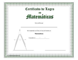 """""""Certificado De Logro - Matematicas"""" (Spanish)"""