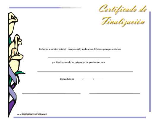 """Certificado De Finalizacion"" (Spanish) Download Pdf"